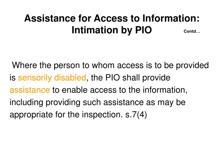 Assistance for Access to Information: Intimation by PIO