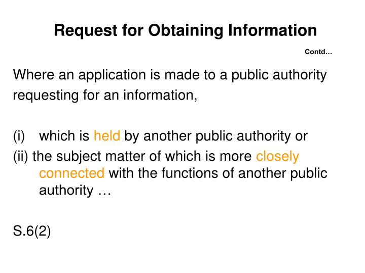 Request for Obtaining Information