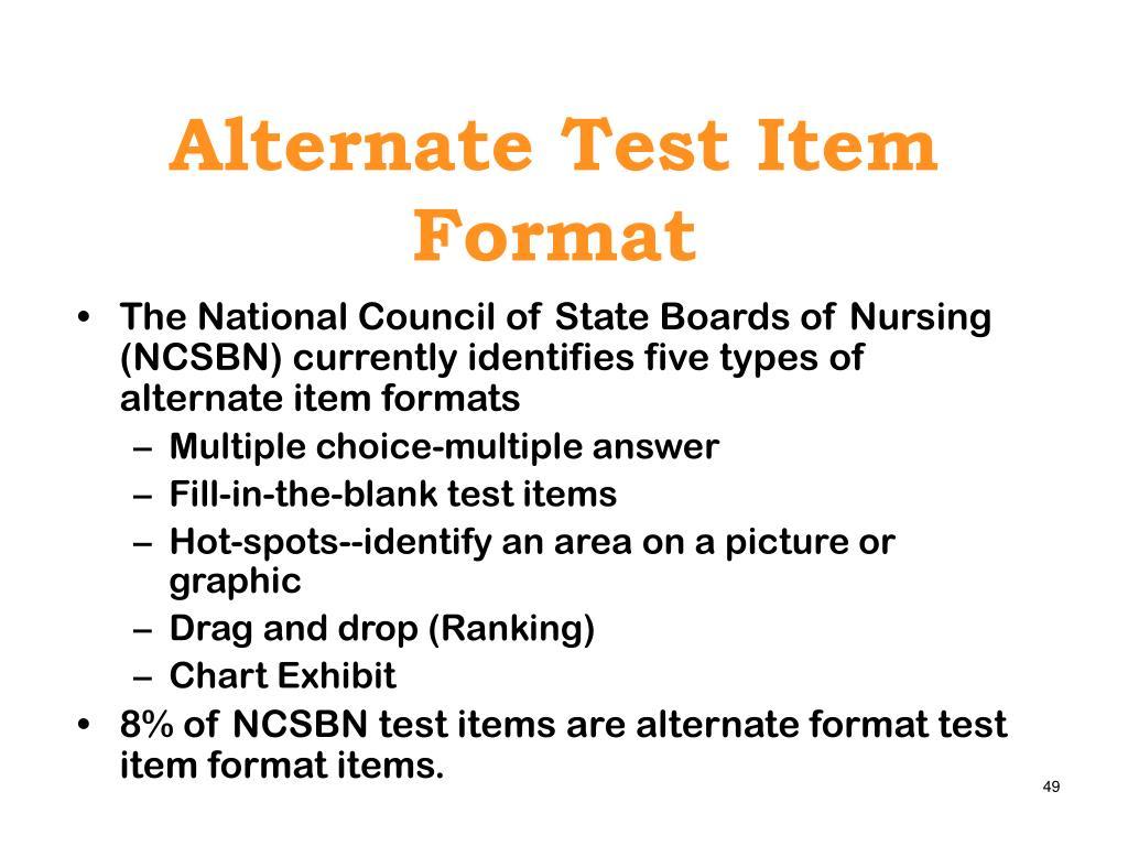 Alternate Test Item Format