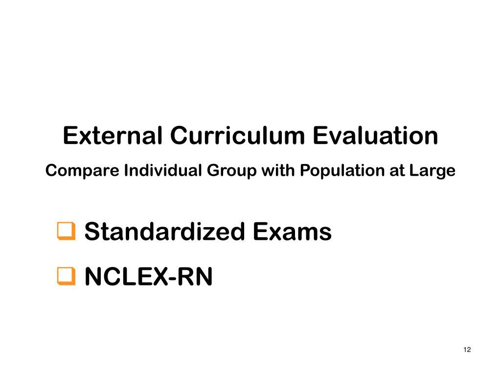 External Curriculum Evaluation