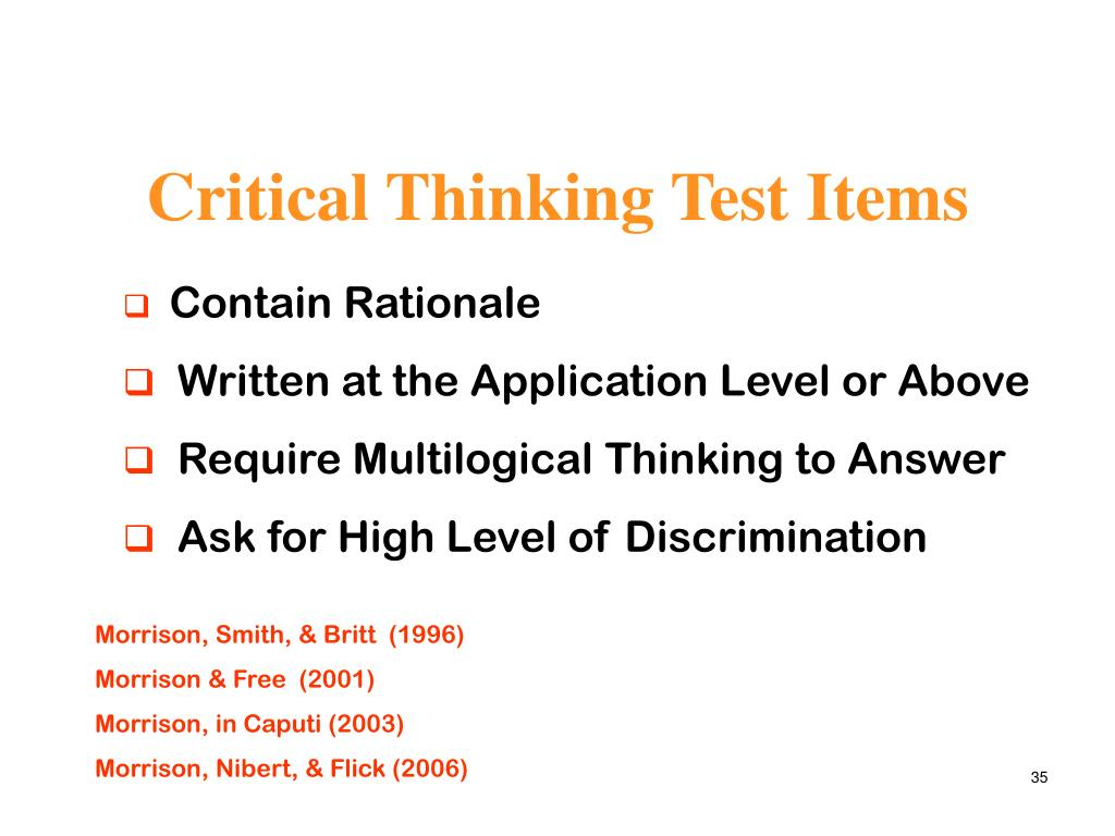 Critical Thinking Test Items