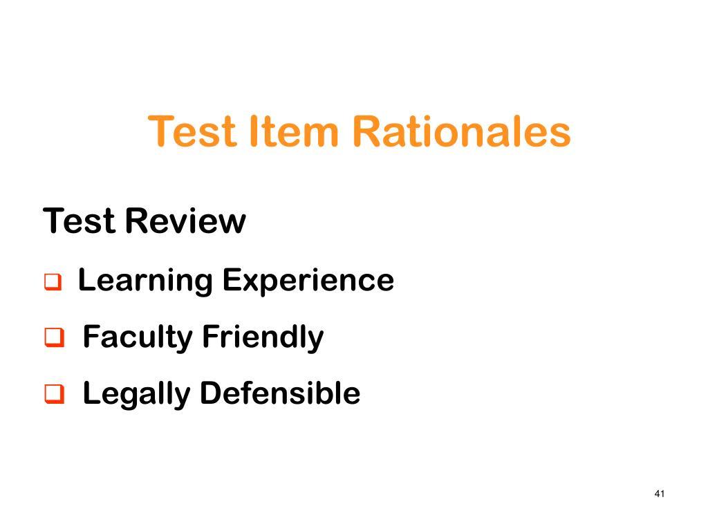 Test Item Rationales