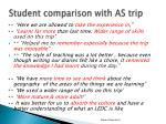 student comparison with as trip