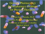 geriatric pharmacology polypharmacy problems for physical therapists