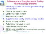 follow up and supplemental safety pharmacology studies