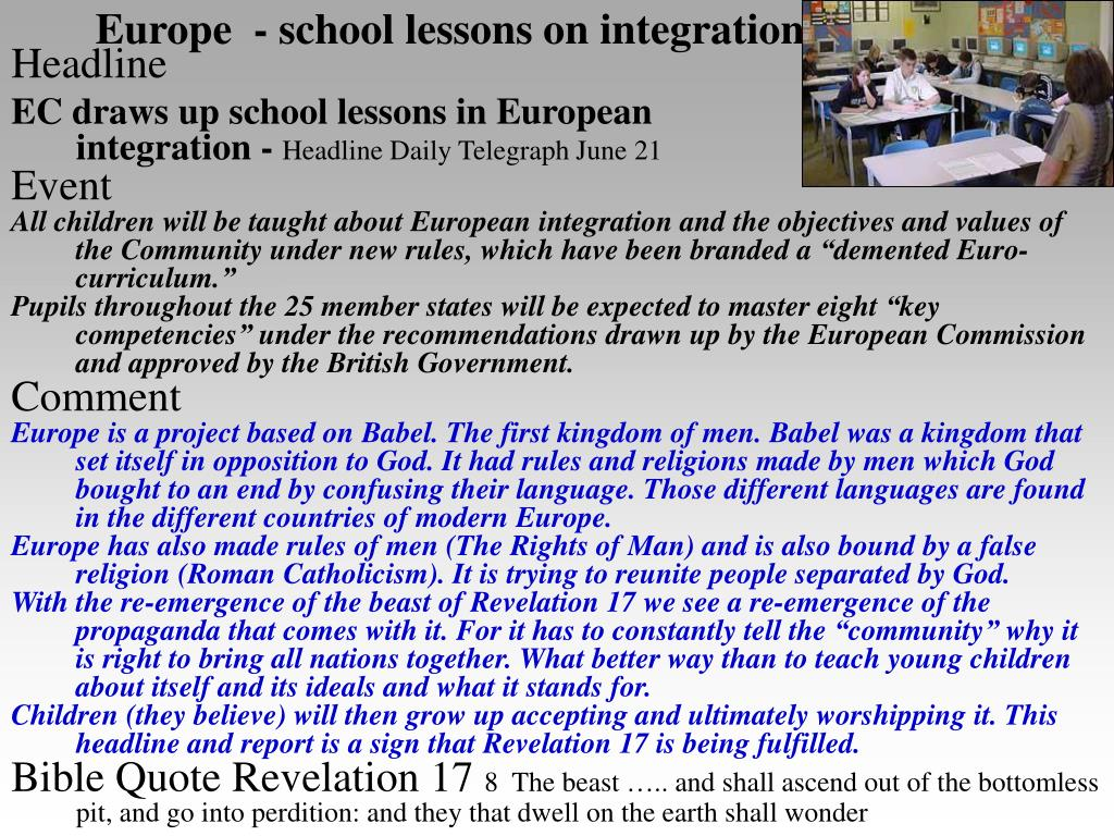 Europe  - school lessons on integration