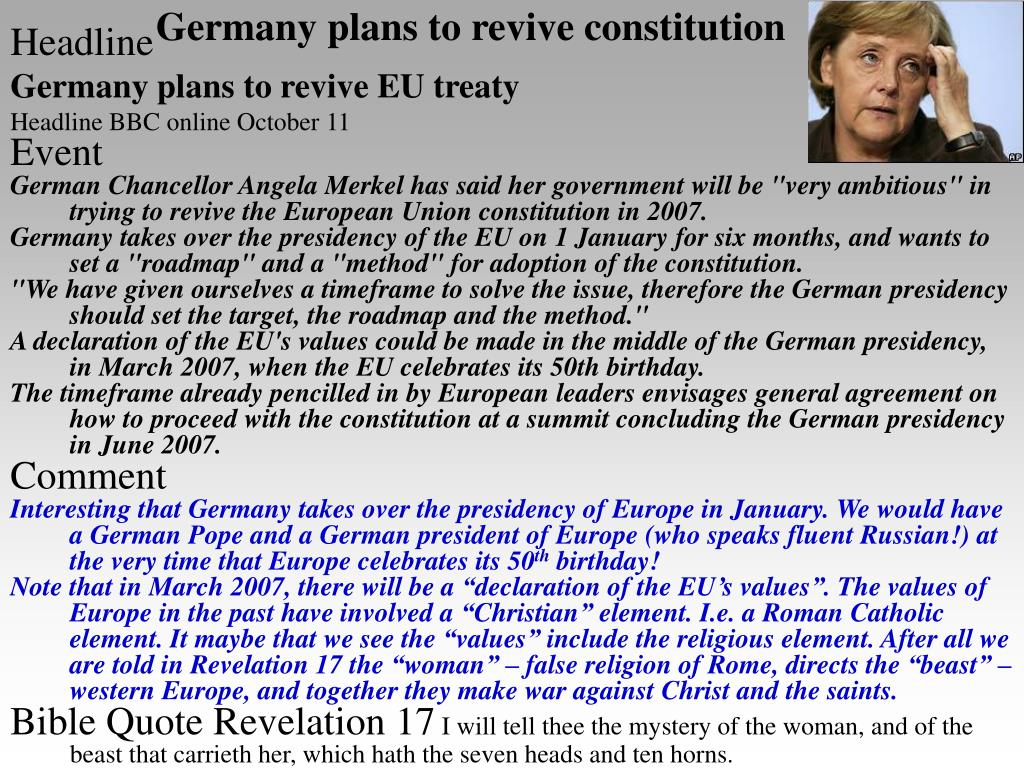 Germany plans to revive constitution
