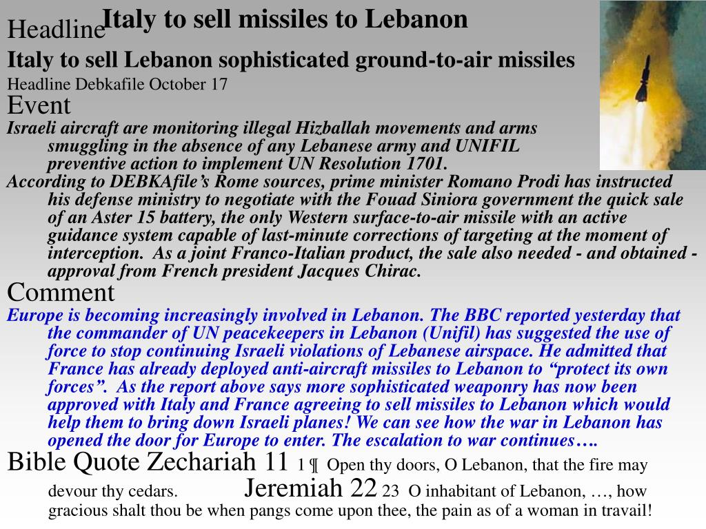 Italy to sell missiles to Lebanon