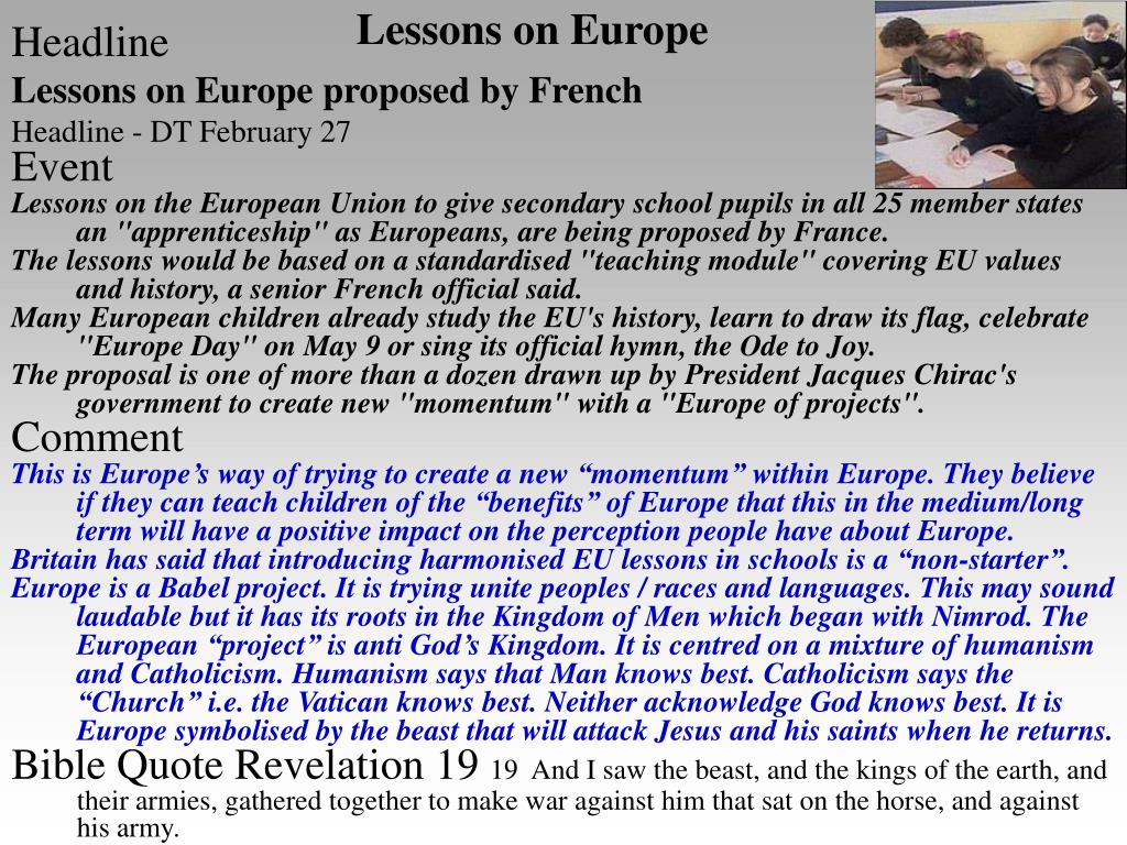 Lessons on Europe