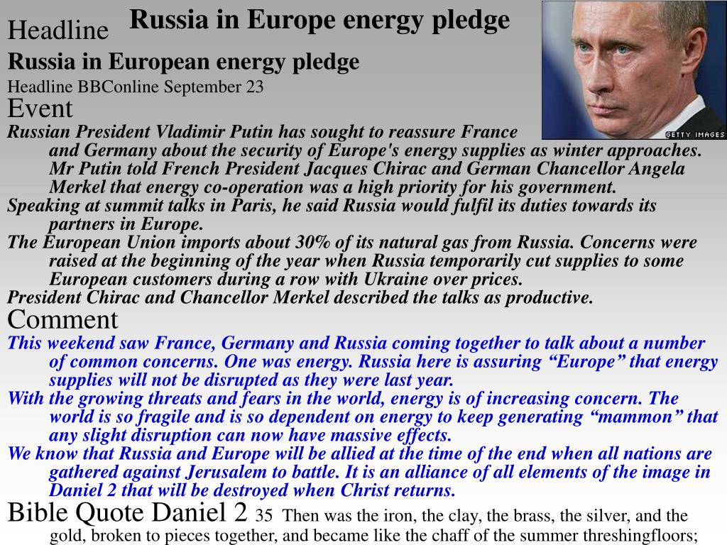 Russia in Europe energy pledge