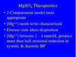 mgso 4 therapeutics