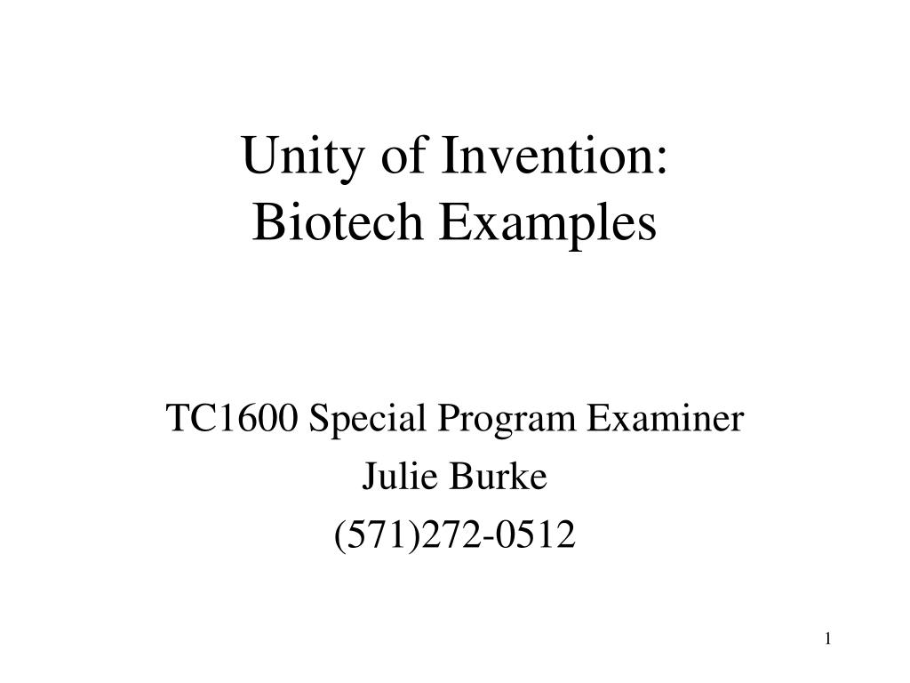 unity of invention biotech examples l.