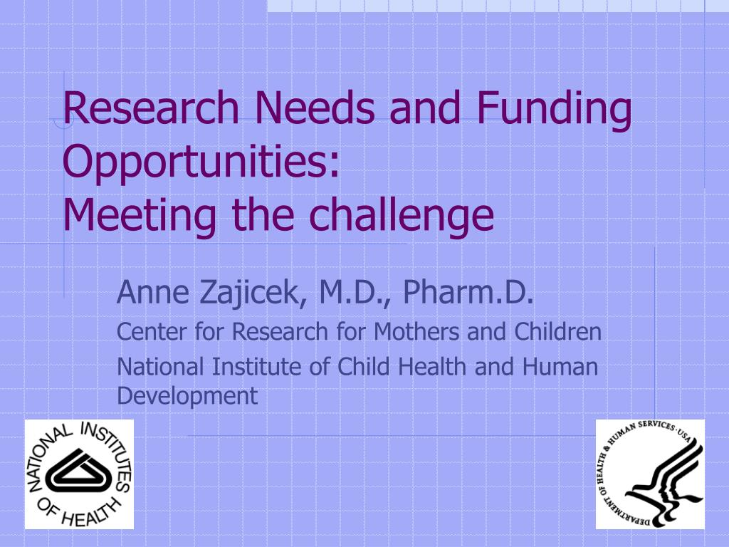 research needs and funding opportunities meeting the challenge l.