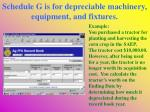 schedule g is for depreciable machinery equipment and fixtures