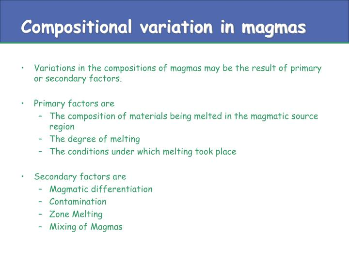 Compositional variation in magmas
