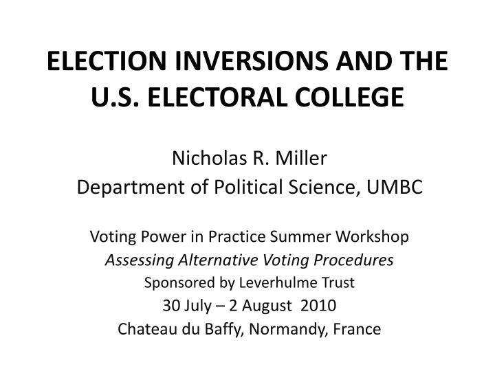 election inversions and the u s electoral college n.