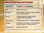 brain and spine injury and prevention