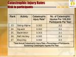 catastrophic injury rates risk to participants19