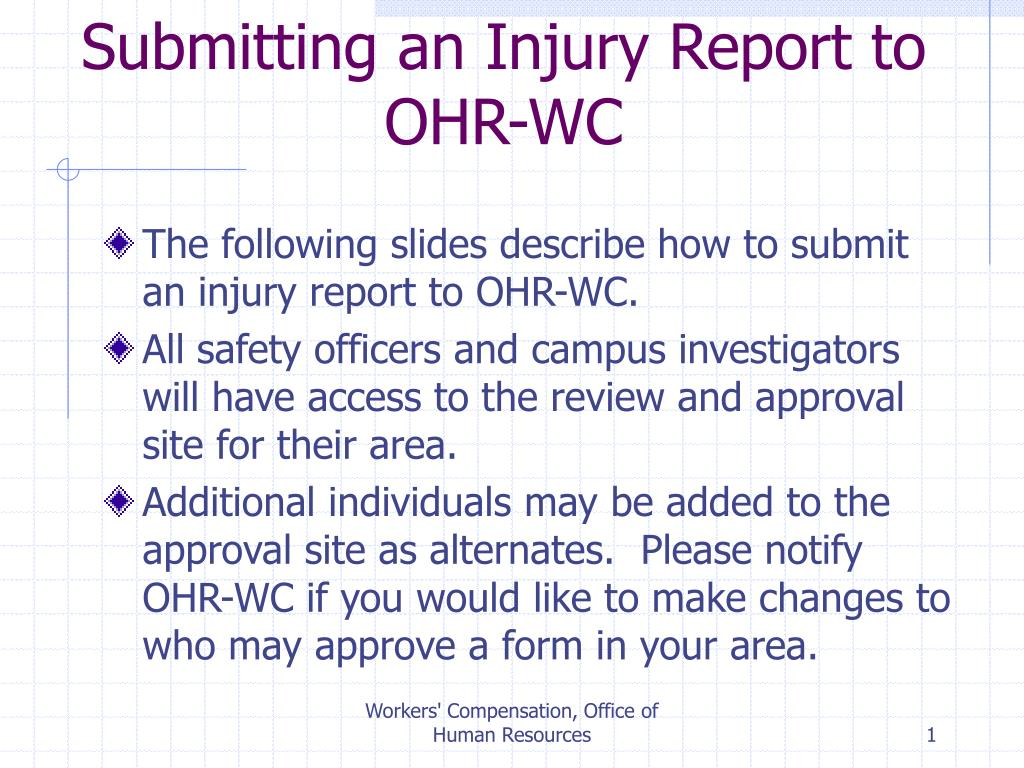 Submitting an Injury Report to OHR-WC