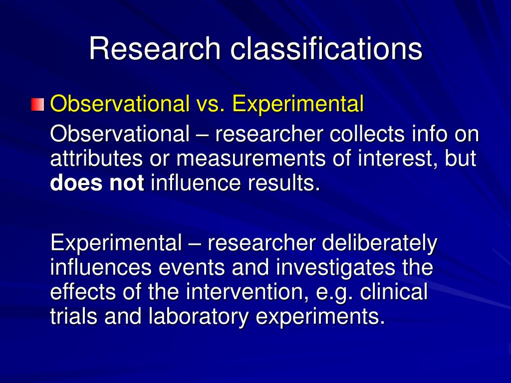 Research classifications