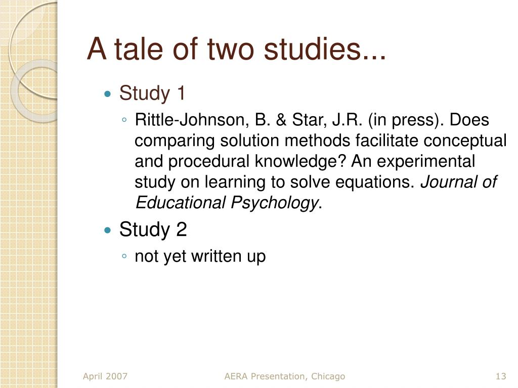 A tale of two studies...