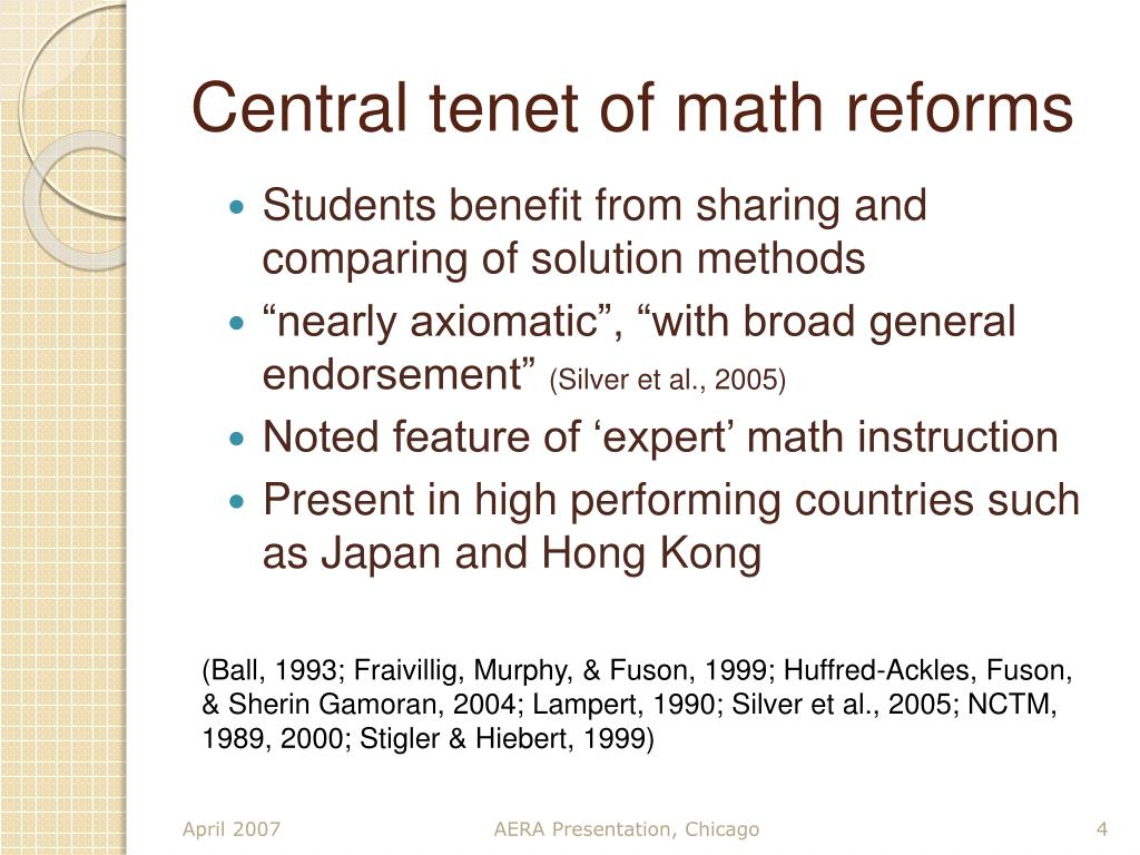 Central tenet of math reforms