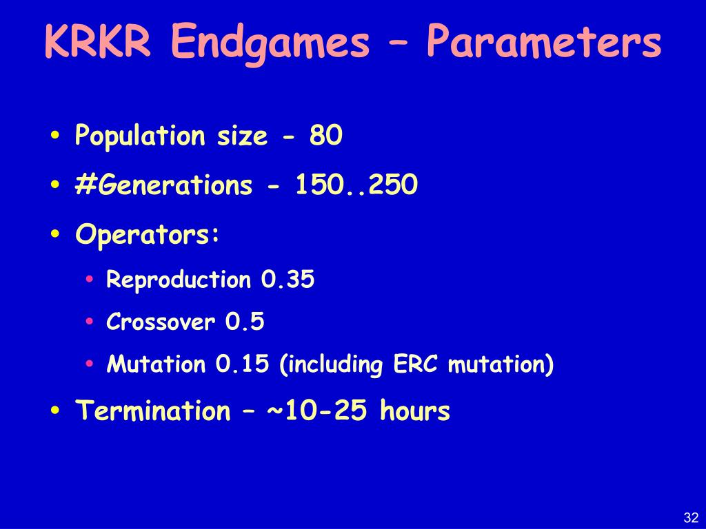 KRKR Endgames – Parameters