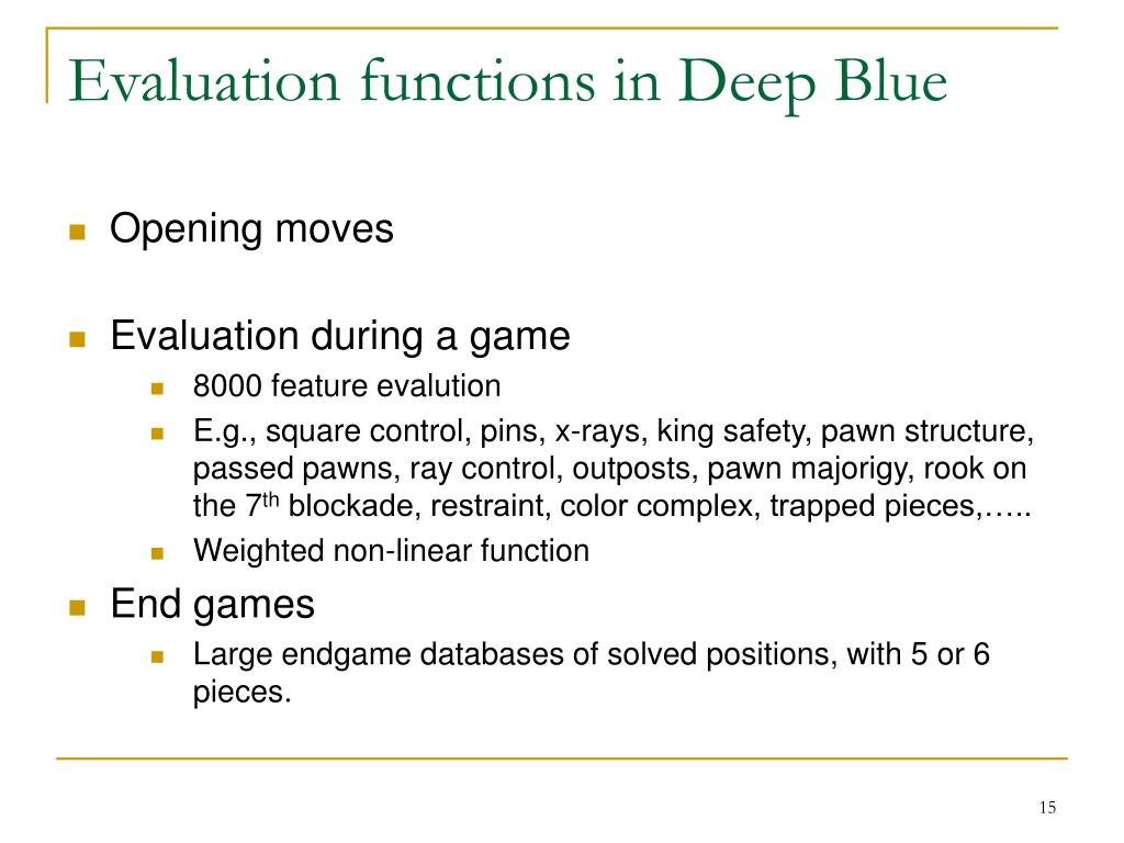 Evaluation functions in Deep Blue