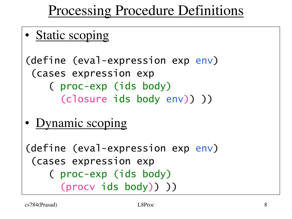 Processing Procedure Definitions