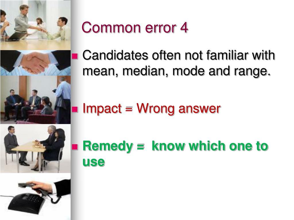 Common error 4