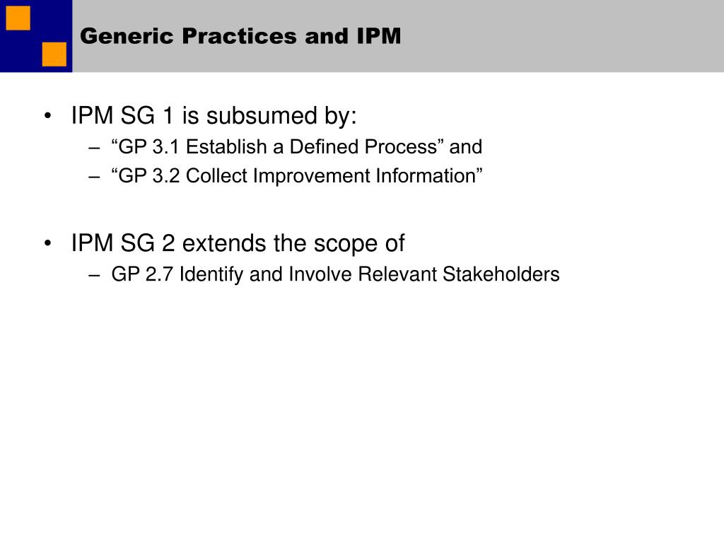 Generic Practices and IPM