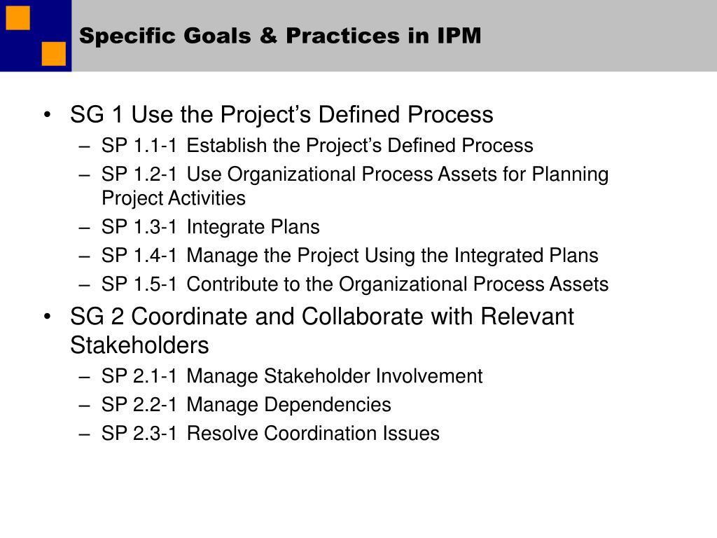 Specific Goals & Practices in IPM