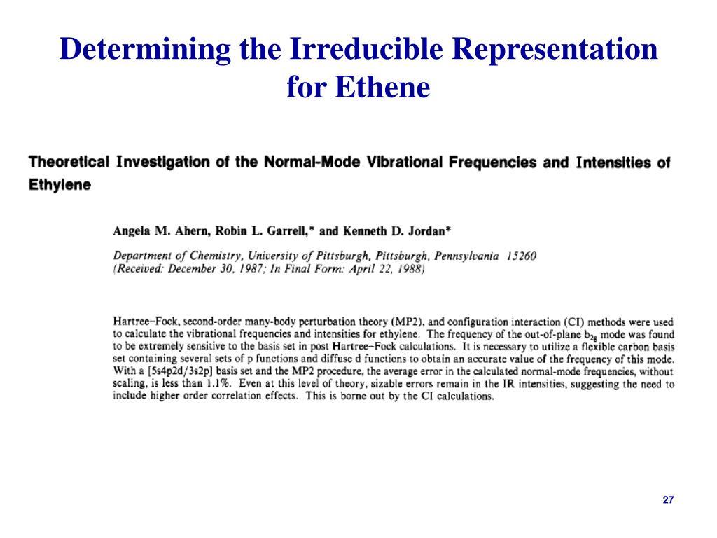 Determining the Irreducible Representation for Ethene