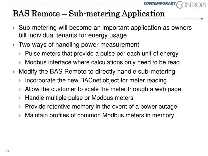 BAS Remote – Sub-metering Application