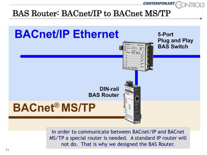 BAS Router: BACnet/IP to BACnet MS/TP
