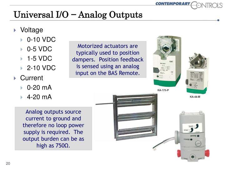 Universal I/O − Analog Outputs