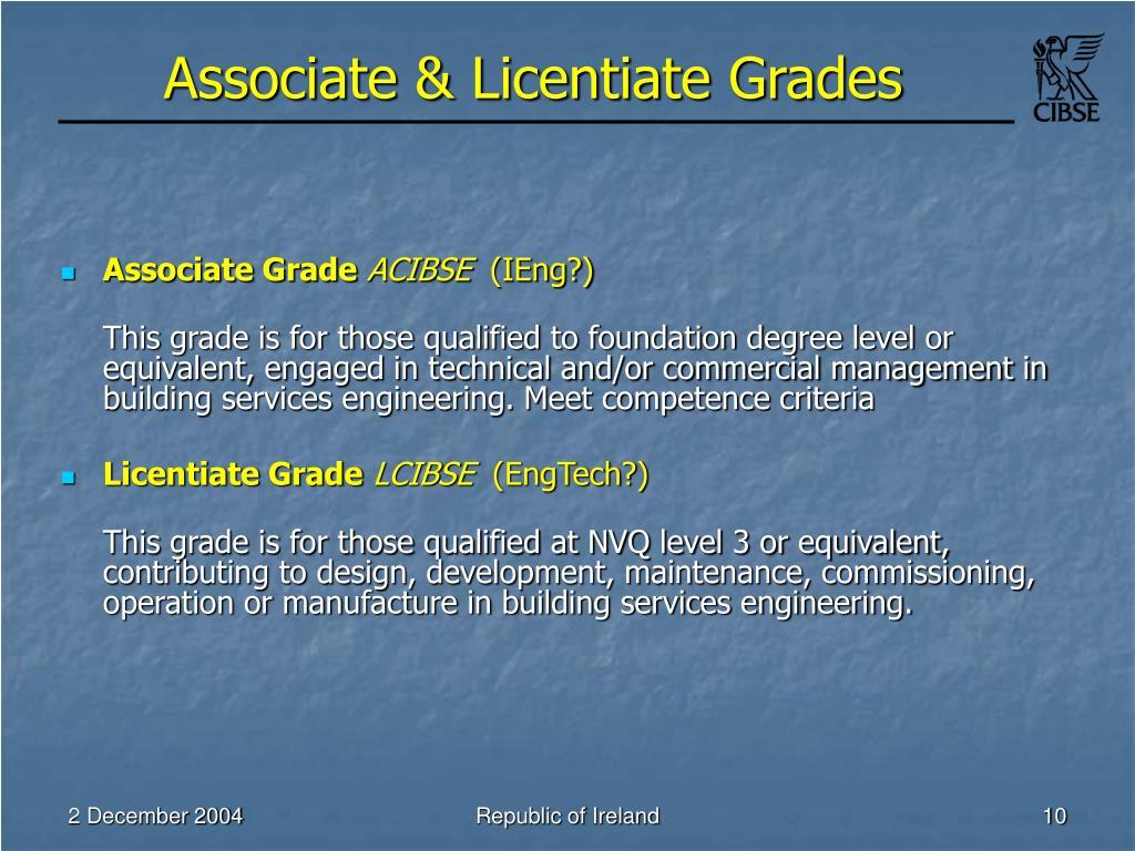 Associate & Licentiate Grades