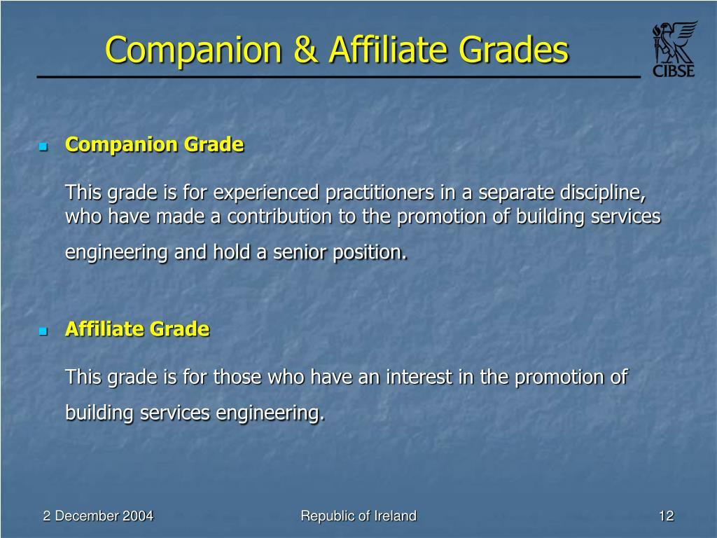 Companion & Affiliate Grades
