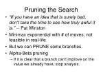 pruning the search