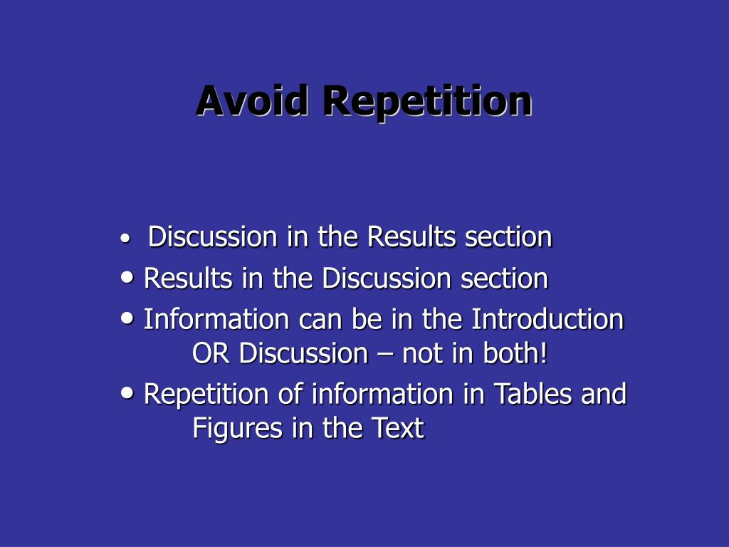 Avoid Repetition