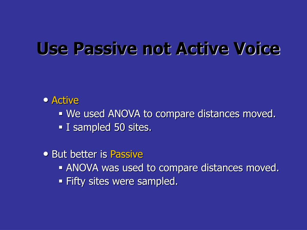 Use Passive not Active Voice
