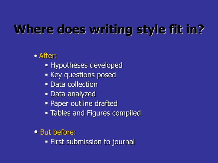 Where does writing style fit in