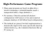 high performance game programs