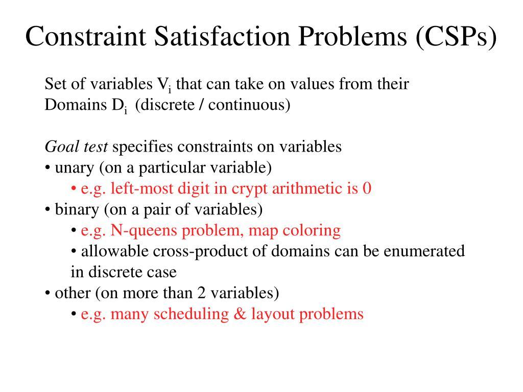 constraint satisfaction problems csps l.