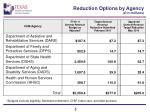 reduction options by agency in millions