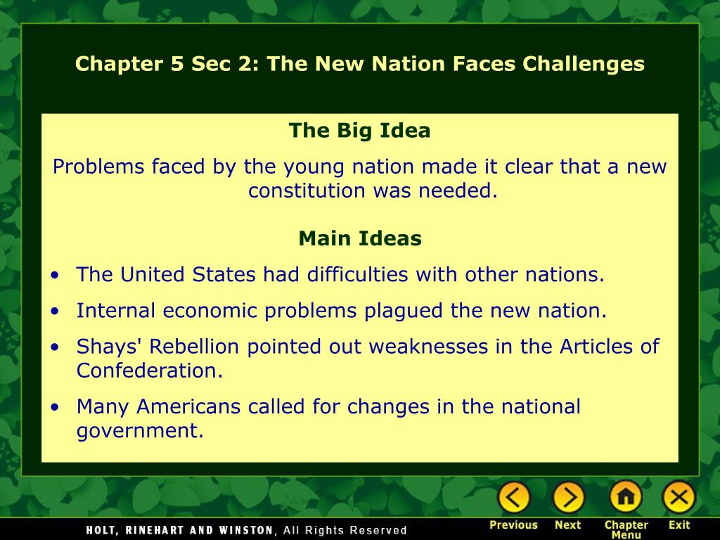 Chapter 5 Sec 2: The New Nation Faces Challenges