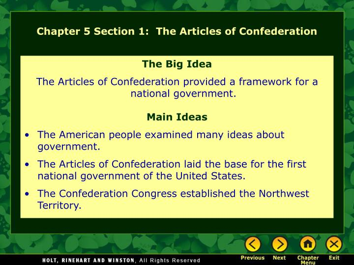 chapter 5 section 1 the articles of confederation n.