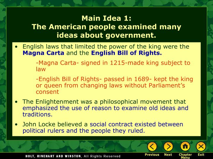 Main idea 1 the american people examined many ideas about government