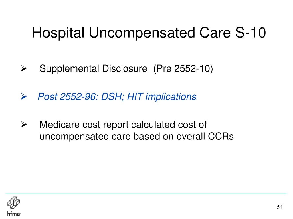 Hospital Uncompensated Care S-10