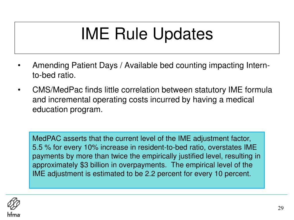 IME Rule Updates